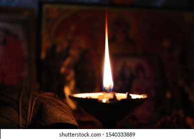 Brass Prayer Diya With Flame