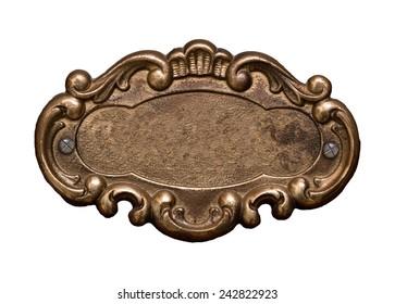 brass shield against white