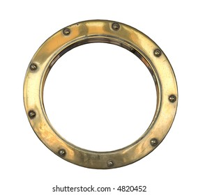 A brass ship's porthole isolated on white