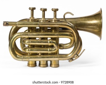 Brass short trumpet isolated on white.