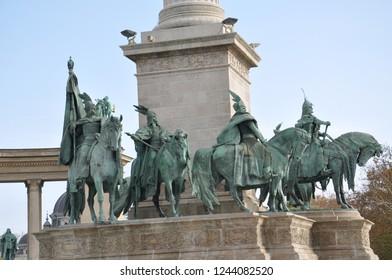 Brass statues of horsemen