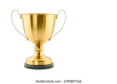 Brass steel trophy, dual handle neo-classic, isolated on white. Trophy is a tangible, durable reminder of a specific achievement, serves as recognition / evidence of merit, awarded for sporting events