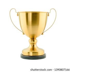 Brass-Stahltrophie, dualer Griff neo-klassisch, einzeln auf weiß. Die Trophäe ist eine greifbare, dauerhafte Erinnerung an eine bestimmte Leistung, dient als Anerkennung / Beweis der Verdienste, die für Sportveranstaltungen verliehen