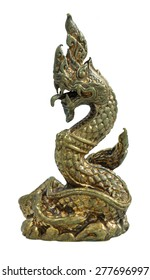 Brass Thai dragon statue isolate on the white background