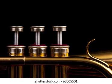 brass trumpet horn on a black background. soft light photograph.
