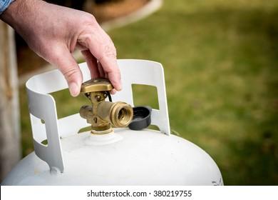 Brass Valve closed on a propane tank