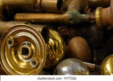 Brass & wooden door handles