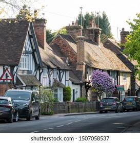 Brasted, Kent, UK, May 2019 - Ancient timber framed cottages in the ancient village of Brasted, Kent, UK