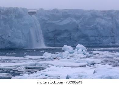 Brasvellbreen Glacier Waterfall - Also known as the Brasvellbreen Ice Wall.