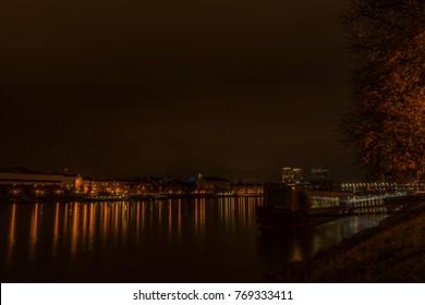 Bratislava in autumn color night near Dunaj river