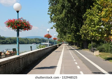 Bratislava, capital city of Slovakia. Danube river waterfront - cycling path along embankment.