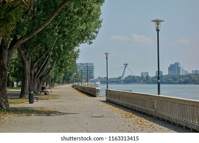 Bratislava, the capital of Slovakia. River Danube - pedestrian zone and cycle path.