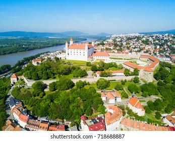 Bratislava Castle or Bratislavsky Hrad aerial panoramic view. Bratislava Castle is the main castle of Bratislava capital of Slovakia.