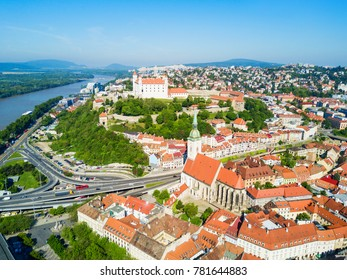 Bratislava Castle or Bratislavsky Hrad and St. Martin Cathedral aerial panoramic view. Bratislava is a capital of Slovakia.