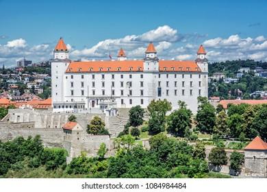 Bratislava castle in capital city of Slovak republic. Architectural theme. Cultural heritage. Travel destination. Seat of power.