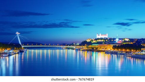 Bratislava castle, Danube river and  saint Martin cathedral after sunset, Bratislava, Slovakia