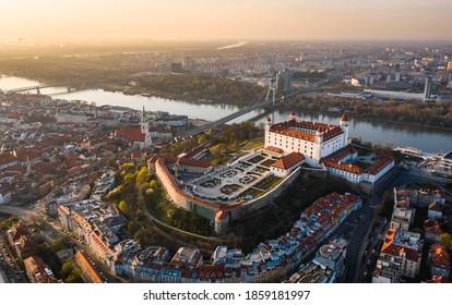 Bratislava castle during epic sunride
