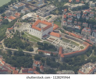Bratislava castle landmark and Slovak parliament seen from an airplane