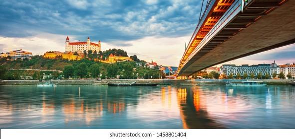 Bratislava castle over Danube river in Bratislava old town, Slovakia