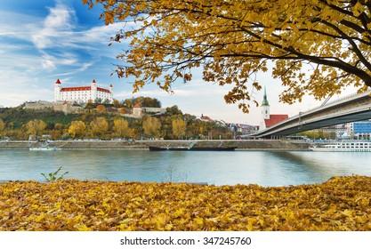 Bratislava castle and the river Danube in Bratislava,Slovakia
