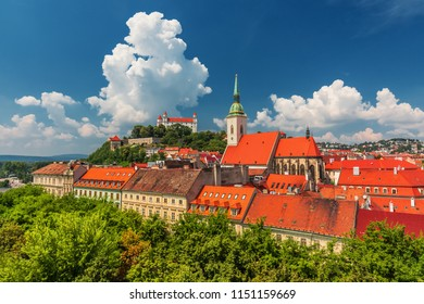 Bratislava castle, saint Martins cathedral and the old town rooftop view in Bratislava, Slovakia