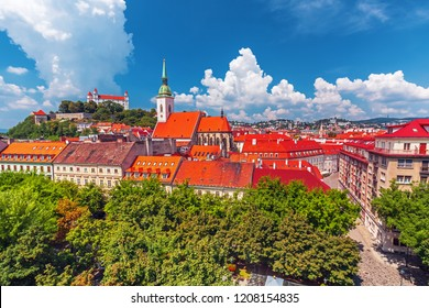 Bratislava castle, saint Martins cathedral and the old town rooftop view in Bratislava city center, Slovakia