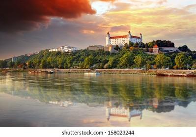 Bratislava castle at sunset, Slovakia