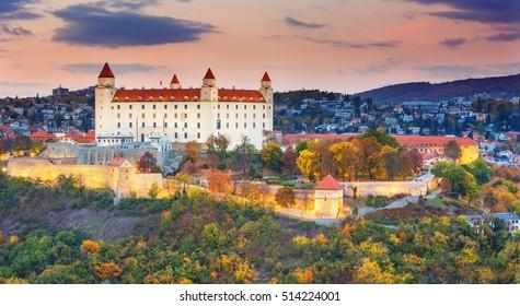 Bratislava castle at sunset,Bratislava,Slovakia