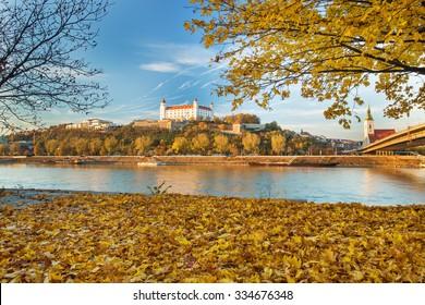Bratislava castle,cathedral and parliament over Danube river in Brastislava city,Slovakia