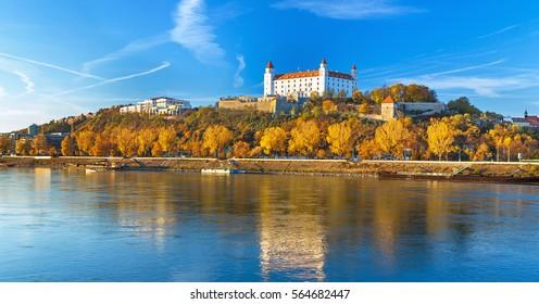 Bratislava castle,parliament and Danube river at beautiful fall day,Bratislava,Slovakia