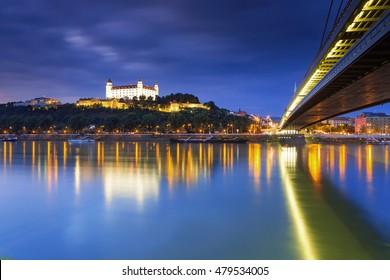 Bratislava castle,parliament and Danune river in capital city of Slovakia,Bratislava