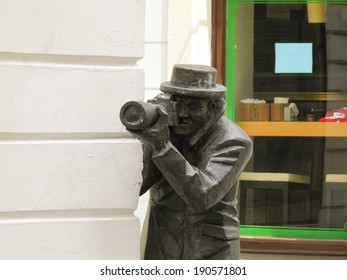 BRATISLAVA, CIRCA JUNE 2011. The statue of Paparazzi in Bratislava is one of the main contemporary attractions in Bratislava