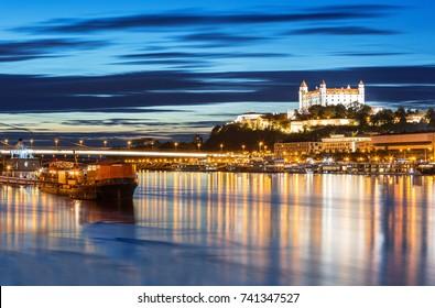 Bratislava city skyline and Danube river at the sunset, Bratislava, Slovakia