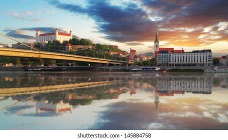 Bratislava embakment at sunrise - Slovakia