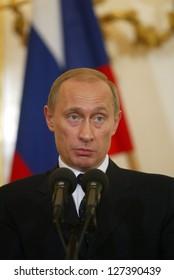 BRATISLAVA FEBRUARY 25: Russian president Vladimir Putin answers questions at a press conference in Bratislava, Slovakia, on February 25, 2005.