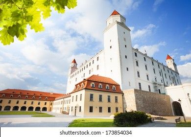 Bratislava main white castle building on sunny day, Slovakia