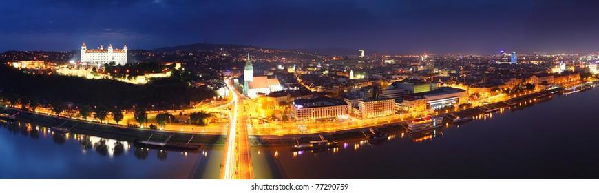 Bratislava panorama at night from new bridge