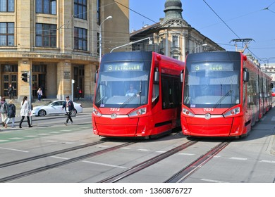 Bratislava, Slovak Republic - March 31, 2019: A modern tram on the streets of the city.