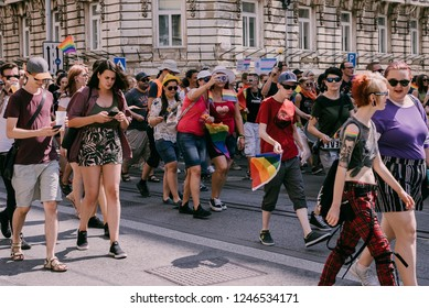 Bratislava, Slovakia, 07/2018. Queer parade. People marching through the city streets in support of equal rights for every one.