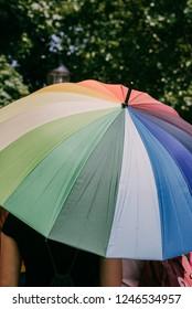 Bratislava, Slovakia, 07/2018. Queer parade. Rainbow umbrella.