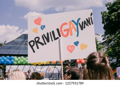 """Bratislava, Slovakia, 07/2018. Queer parade. Sing saying """"Priviligay"""" (word play of the worlds privilege and gay)."""