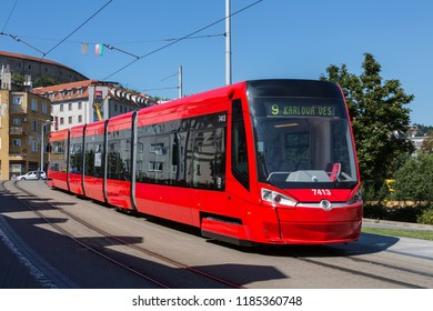 Bratislava. Slovakia. 08.08.16. A Skoda 30T tram operating in the city of Bratislava in Slovakia. The fully air-conditioned Skoda 30T is a five car, low-floor, bi-directional tram.