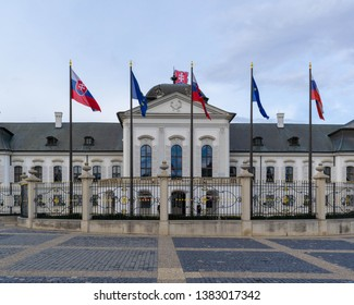 Bratislava, Slovakia - 14th March 2019: The Bratislava Parliament Building with colourful flags outside - government building in Slovakia's capital Bratislava