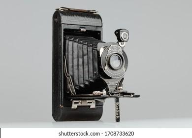 Bratislava, Slovakia - 20.04.2020. No. 1A Pocket Kodak vintage film camera from Kodak. Pocket No. 1A used A116 film. Manufactured between1908 and 1912. Old vintage retro analog camera.