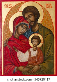 Bratislava, Slovakia, 2016/12/30. Icon of the holy Family - Jesus, Mary and Joseph in a private chapel.
