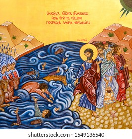 Bratislava, Slovakia. 2019/10/20. Icon of the Crossing of the Red Sea – Moses leading Israelites through the Sea of Reeds. The Greek Catholic church of the Exaltation of the Venerable Cross.
