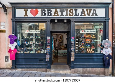 Bratislava, Slovakia - 24 May, 2018: Postcards and souveniers on display at a tourist shop in Bratislava's historic Old Town. I love Bratislava.