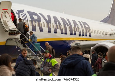 Bratislava, Slovakia. 6 November 2017. A Ryanair Boeing 737-800 aircraft parked at the Bratislava airport runway. People are boarding the plane.