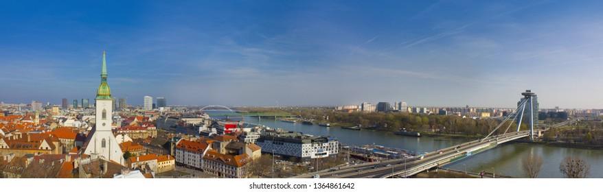 BRATISLAVA, SLOVAKIA - April 1, 2019: Bratislava panorama in a sunny day