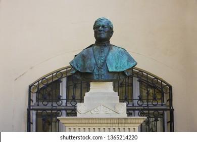 BRATISLAVA, SLOVAKIA - April 1, 2019: Bust of Romer Floris in the courtyard of Old Town Hall (Bratislava City Museum (Mestske Muzeum)) in Bratislava